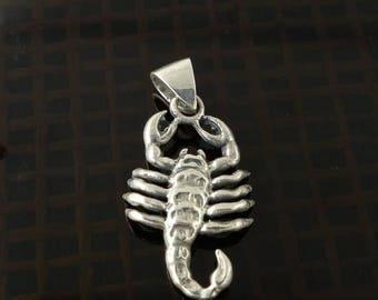ON SALE Sterling Silver Scorpio Zodiac Pendant Scorpion Sign