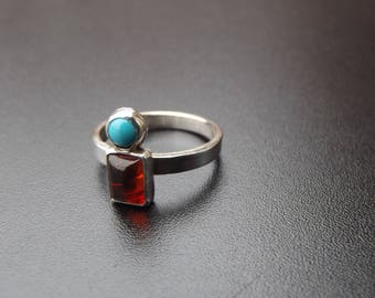 Sterling Silver contemporary amber turquoise ring