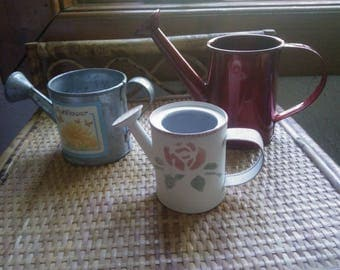 Vintage Set of Three Mini Watering Cans or Sprinkling Cans - Decorative Watering Cans or Fairy Garden Sprinkling Cans - Mini Watering Cans