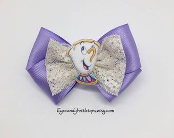 Purple Chip Tea Cup Hair Bow