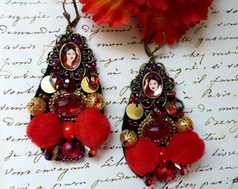 Precious textil earring in red, black and gold, pompons
