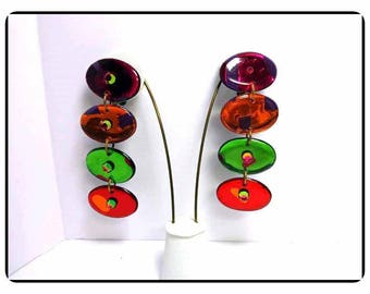 Rainbow of Colorful Connected Disk Earrings - Unique Long Dripping Colors  -   - E8085a-063017010