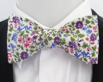 mens bowtie in a pretty purple, blue  and pink floral design   - option of fittings ~ self tie ~ freestyle