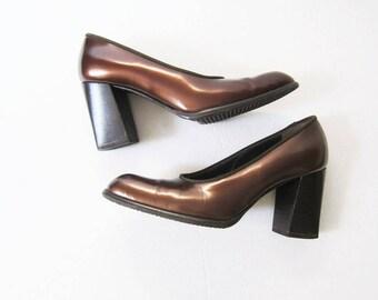 Bally Block Heels - Brown Metallic Patent Leather High Heels - 90s Heels - 38 US 8
