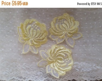 ON SALE 25% OFF Pretty Vintage Flower Appliques | Yellow | Satin | Sheer