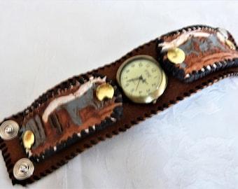 Men bracelet leather cuff watch