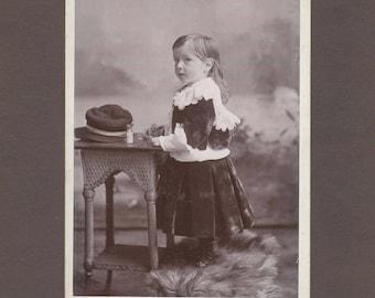 Cabinet Card of a Beautiful Little Boy in Velvet ~ Medicine Bottles