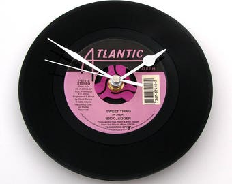 """MICK JAGGER Vinyl Record CLOCK from a recycled single """"Sweet Thing"""" Great gift for Rolling Stones fans,mum,dad, grandpa, black pinks purple"""