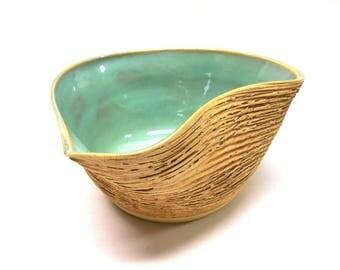 Artsy Pottery Batter Bowl Ceramic Gravy Boat Altered Bowl Ceramic Batter Bowl Pottery Gravy Boat Medium Turquoise Serving Bowl