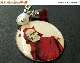 SUMMER SALE Day of the Dead Necklace. Skull Pendant with Clouded Red Teardrop and Fresh Water Pearl. Handmade Jewelry.