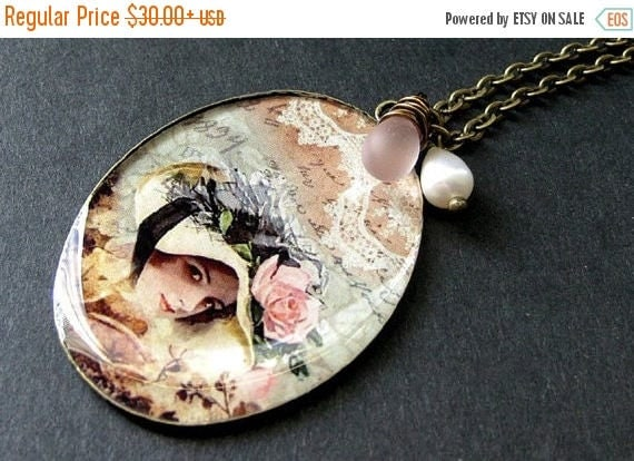 SUMMER SALE Lady Necklace Pendant with Soft Pink Wire Wrapped Teardorp and Fresh Water Pearl. Handmade Jewelry.
