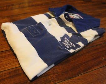 Toronto Maple leafs polo golf shirt vintage striped NHL hockey 90s medium
