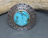 Big Ring, Turquoise Ring, Boho Ring, Hand Stamped Ring, Bohemian Silver Ring, Statement Ring, Gypsy Ring, Sterling Ring