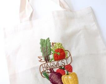 Embroidered Vegetables, Reuseable Canvas Shopping Bag, Tote, Eco Friendly Shopper Bag, Market Bag, Botanical, Grocery, Harvest
