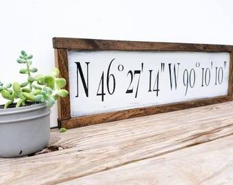Gps Sign - Framed Wood Sign - Gps Coordinates Sign - Latitude  Longitude - Custom Address Sign - New Home Gift - Housewarming Gift