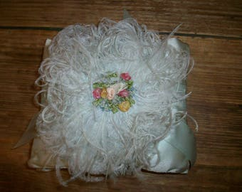 Boudoir silk ribbon sachet in whisper blue silk 1920s hand done feathers