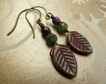 Jewellery, Beaded Earrings, Leaf Earrings, Drop Earrings, Red and Green Earrings, Rustic Earrings, Earthy Earrings, Boho, Gifts for Women