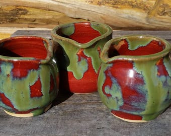 Mini Cream Pitcher, Pottery Creamer, Pottery Mini Pitcher, Ceramic Mini Pitcher, Syrup Pitcher, miniatures, red and green, cream and sugar