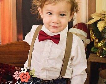 Burgundy Bowtie Dark Tan Suspenders Newborn- XL Adult Mens Rustic Wedding Ring Bearer Outfit Groomsmen Toddler Boys gift Olive Brown braces
