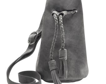 Grey Leather Bucket Bag, Cross body Bag