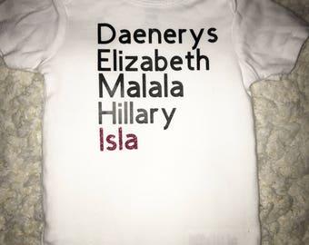 Greatest Women to live game of thrones hillary malala personalized elizabeth onesie tshirt