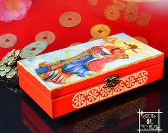 "Wooden money box ""Bi Quan"", Cash box, Feng Shui Money Box, Feng Shui money attraction, Feng Shui gifts, character meaning Wealth, 比干"