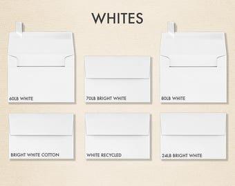 A1 White Invitation Envelopes w/Peel & Press (3 5/8 x 5 1/8) - Pick A Color - Quantity of 50