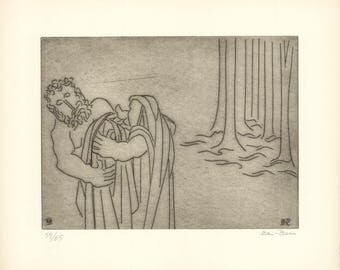 Ben-Zion-The Priestess Clothes Enkidu with a Robe (XIII)-1966 Etching-SIGNED