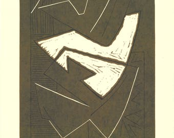 Alberto Magnelli-Untitled XI-1970 Linocut-SIGNED
