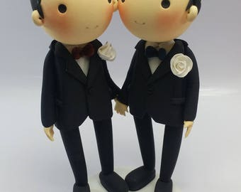 International Gay Wedding Cake topper clay doll in white theme,Vietnam flag and Union Jack flag same sex wedding clay miniature
