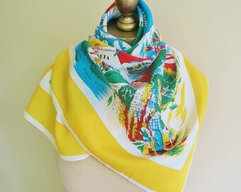 Canada scarf, DOMINION of CANADA, Canadian scarf, map scarf, collectible, travel souvenir. 50s scarves, headscarf,