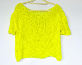 Cotton Sweaters, Neon Yellow Knit Top, Sleeveles Blouse, Summer Birthday Gift, Beach Cover Up
