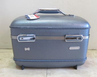 Vintage Blue American Tourister Train Makeup Case Suitcase