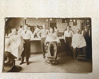 Tonsorial Parlor Vintage Real Photo Postcard Occupational Barbershop Barber