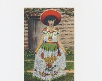 vintage postcard Mexican girl in fiesta costume China Poblano, 1939