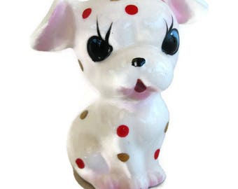 kitsch ceramic dog polka dot puppy