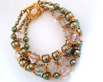 multi strand green Swarovski pearl clear crystal bead bracelet multistrand bracelet triple strand bracelet iridescent beaded bracelet