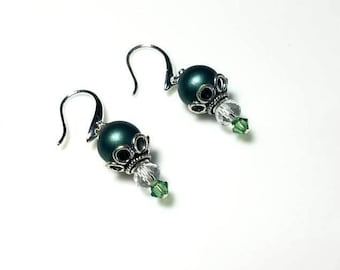 dark green Czech bead clear crystal earrings hypoallergenic earrings nickel free earrings dangle drop earrings beaded jewelry gifts for her