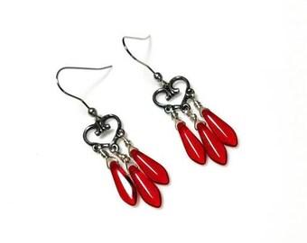 red dagger bead silver heart chandelier earrings hypoallergenic nickel free earrings long dangle drop beaded jewelry Valentine's Day gift