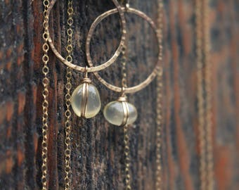 Clear Agates : Full Moon Hoops