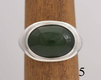 Jade ring, sterling silver and jade cabochon ring, size 5, #690.