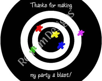 "Paintball Round Stickers - Sheet of 20 - 2"" round.  Paintball Birthday Party Favors.  2 Inch Round Laser Tag Stickers"