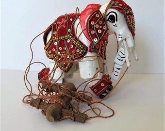 "Vintage wood Elephant marionette, puppet, Nursery decor, 5"" x 5"", wall hanging, puppet show, shelf sitter, small white elephant, gift idea"