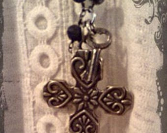 Rosary Chain Assemblage Cross Necklace