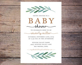 Garden Party Baby Shower Invite, Greenery Boy or Girl Invite, Printable Digital File - Print at Home - Gender Neutral Shower – Waverly