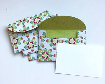 Geometric Design Envelope with Blank Notecard Love Note Gift Card Bold Colors