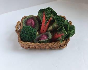 Porcelain minature vegetables Basket set cabbage broccoli ceramic veggys