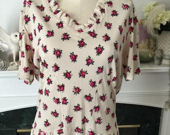 40s Dayglo Flower Print Nylon Jersey Dress