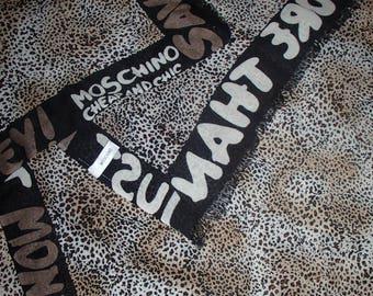 SILK SCARF / MOSCHINO Black Brown Cream Cheetah Print/ 1990s Rare /One of Kind/Vintage Silk Scarf