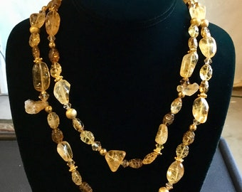 20-Inch Double Strand Citrine Necklace